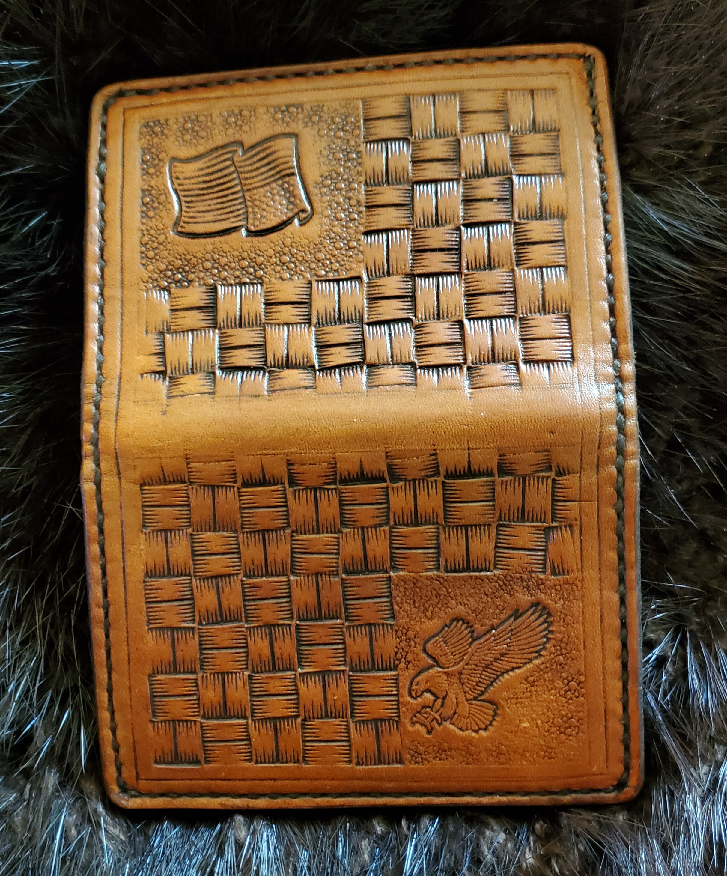 (Outside)  Minimalist 4 pocket Wallet hand tooled and stitched, $75.00