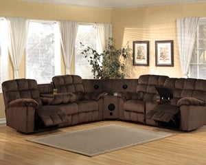 7200 Chocolate Sectional Includes: Sofa, Love, Blue Tooth  Wedge Speakers