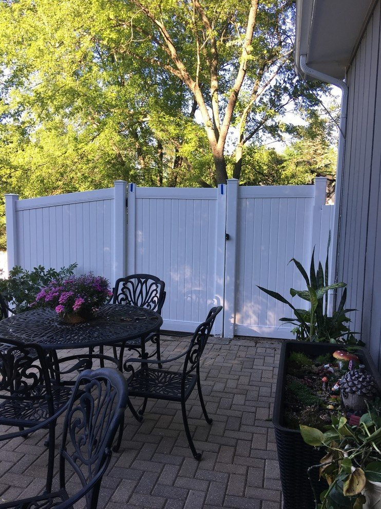White PVC Privacy Fence and Gate