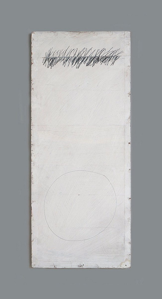 A vertical white panel with a straight line of scribbled pencil marks and a circle.
