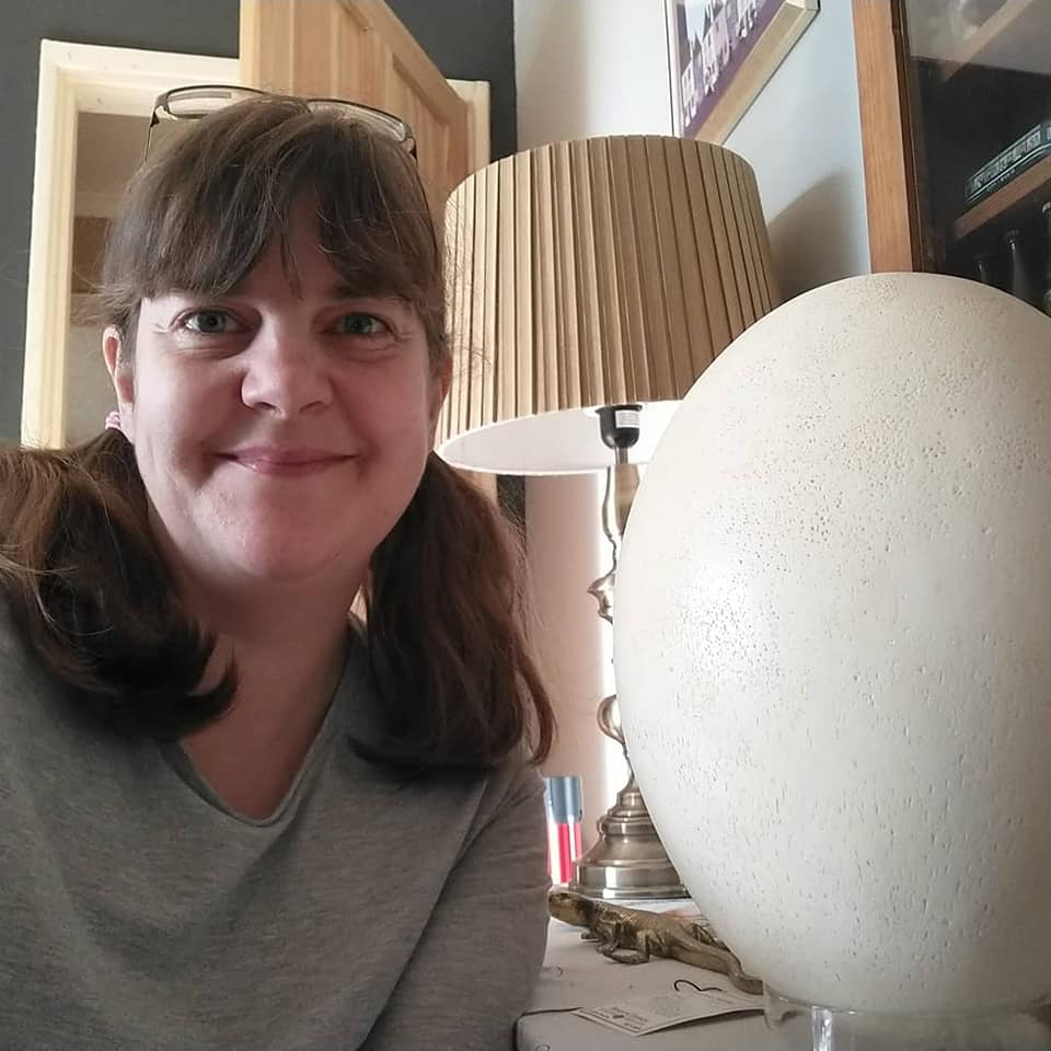 Susan with her replica giant elephant bird egg
