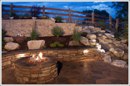 Fire pit and seat wall||||
