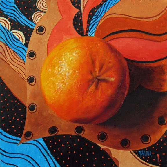 Magical Orange~10x10  Oil on canvas SOLD