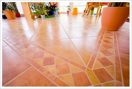 Brown mosaic on the floor||||