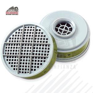 MULTI-CONTAMINANTES Categoría: Cartuchos Descripción: Cartucho plástico para multicontaminantes para protección contra ambiente multicontaminado por vapores orgánicos, amonia, metilamina, cloro, cloruro de hidrógeno, dióxido de sulfuro, fluoruro de hidrógeno, sulfuro de hidrógeno, formaldehído, dióxido de nitrógeno, con entrada tipo rosca.  Para respirador: Respirador Optifit