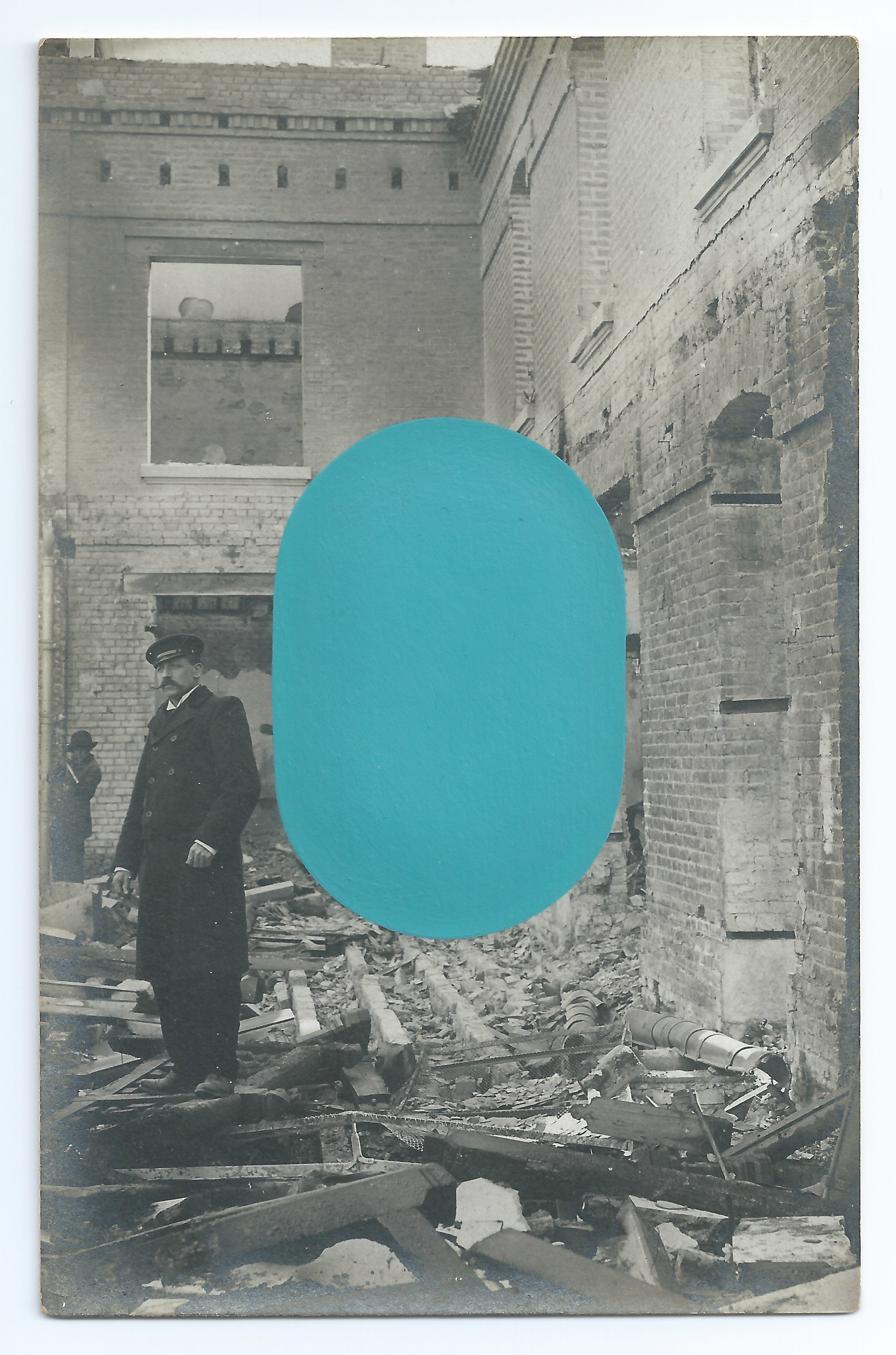 Untitled (Interiors and Ruins), acrylic on antique photographic postcard, 5.5 x 3.5 inches, 2018