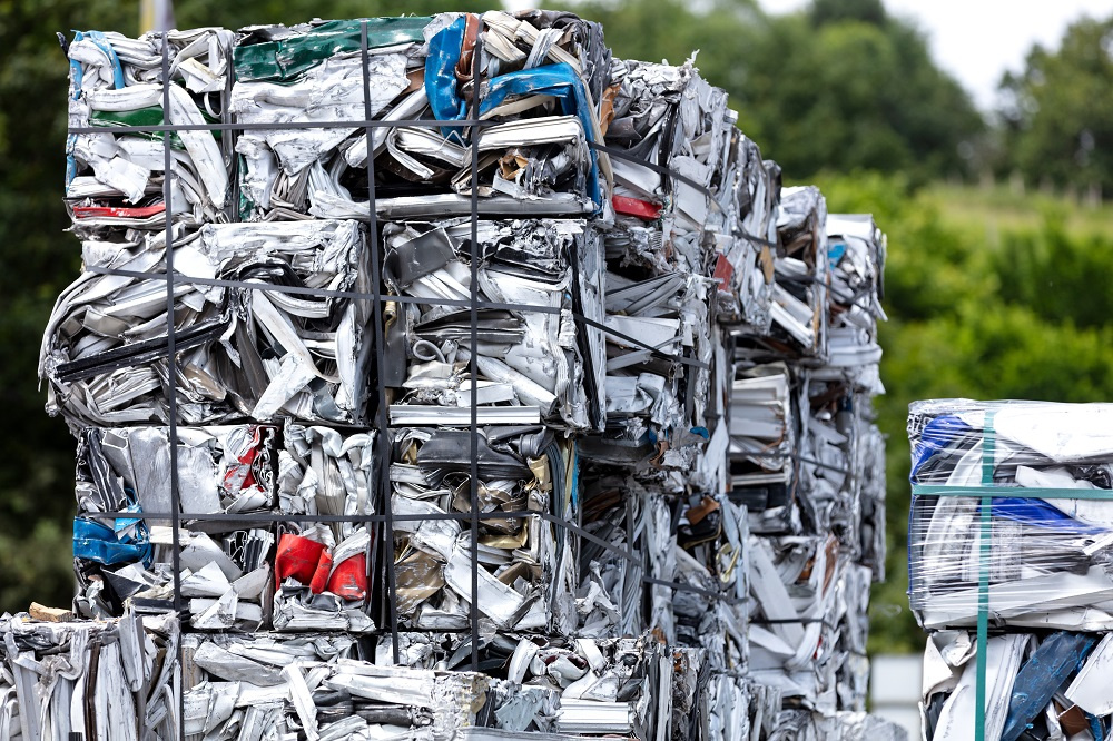 Metal Scraps in Packed in Cubes