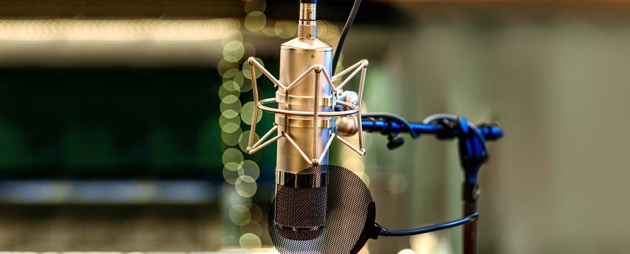 A Tube Microphone On A Stand With Pop Filter