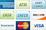 We accept American Express, ATM, Debit Cards, Cash, Checks, Discover, Insurance, MasterCard and Visa.||||