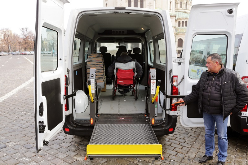 Minibus for physically disabled people