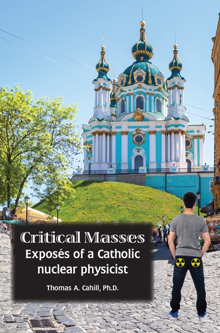 """Critical Masses"" book cover, showing a young man with nuclear radiation symbols on the pockets of his jeans"