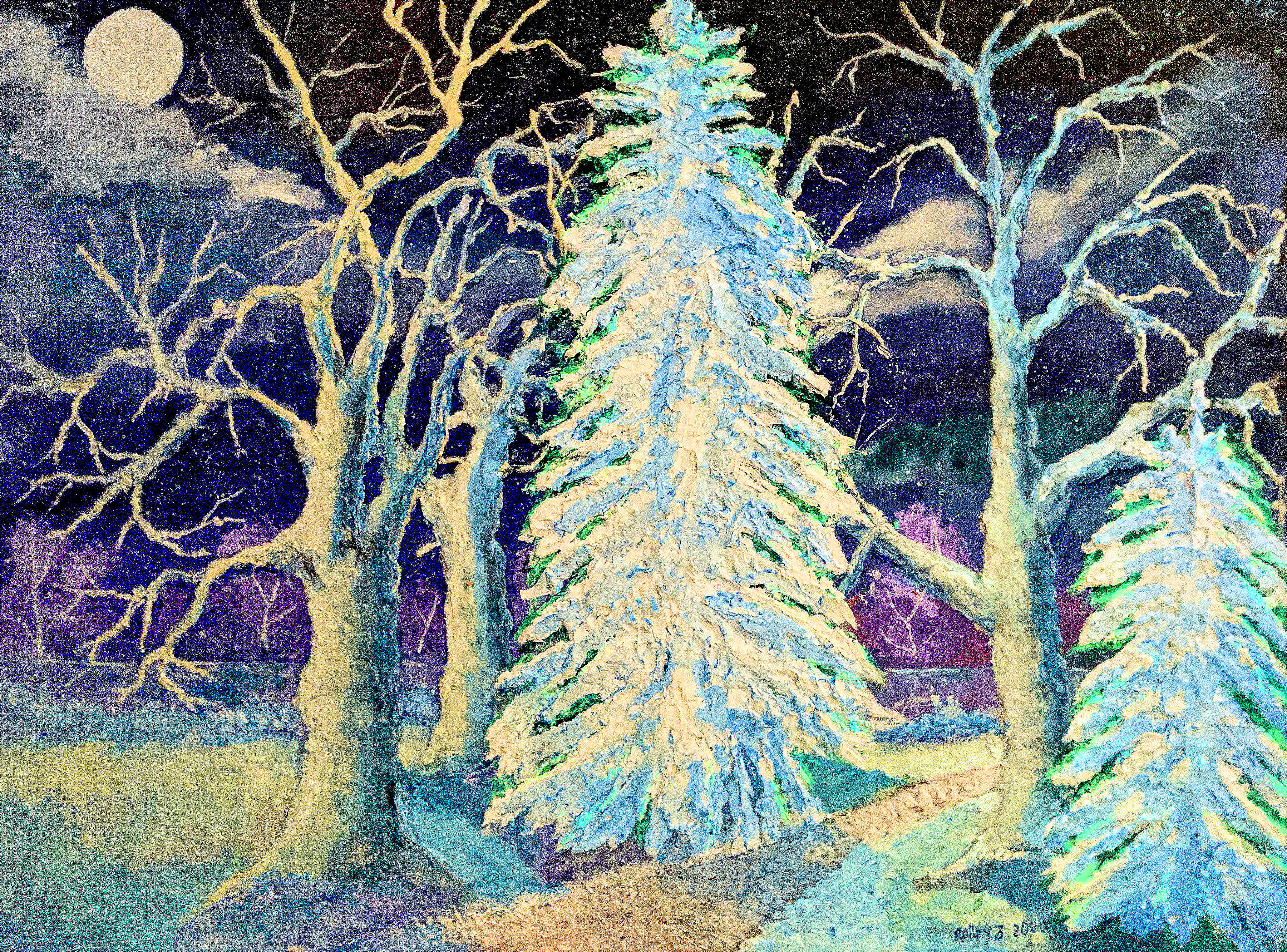 THE WINTER PATH  30x40 $800  HIGHLIGHTED WITH GLOW IN DARK LUMINESCENT PAINT