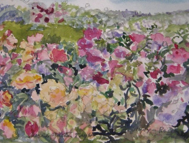 "Michele Martin Taylor, Study of Roses, 5"" x 7"" WC"