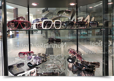 Sunglasses display case through window||||