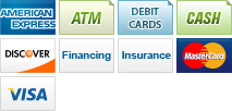 We accept American Express, ATM, Debit Card, Cash, Discover, Financing, Insurance, MasterCard and Visa.||||