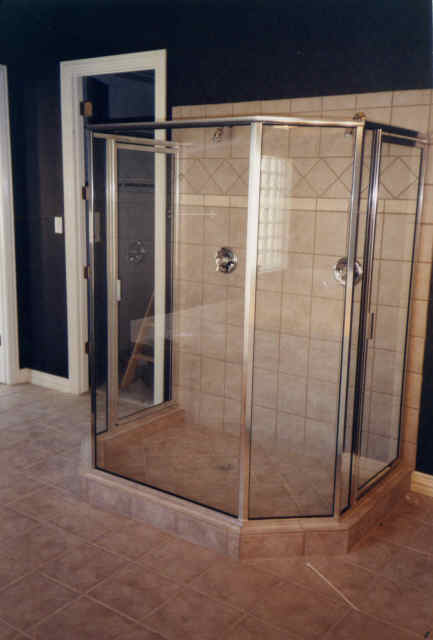 Shower with new glass enclosure||||