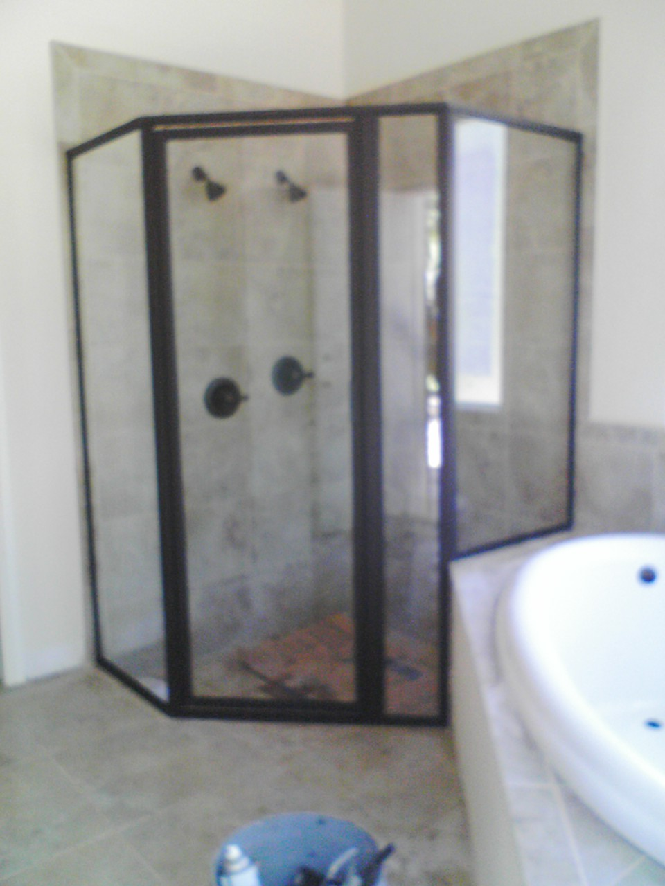Corner glass shower installation||||