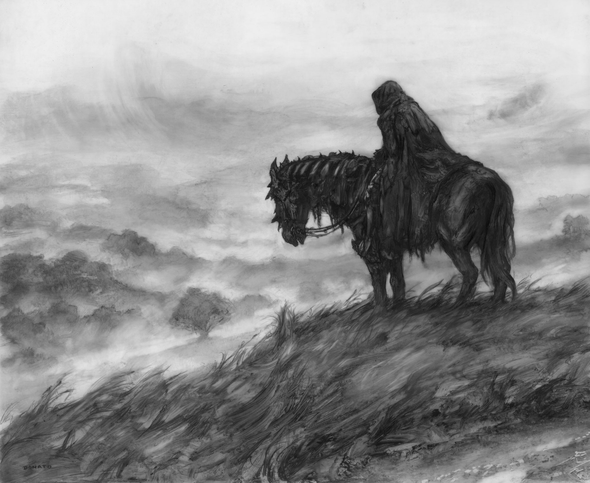 "Black Rider - Searching for Baggins 17"" x 14"" graphite pencil and paint 2019 collection of Leo Gonzales"
