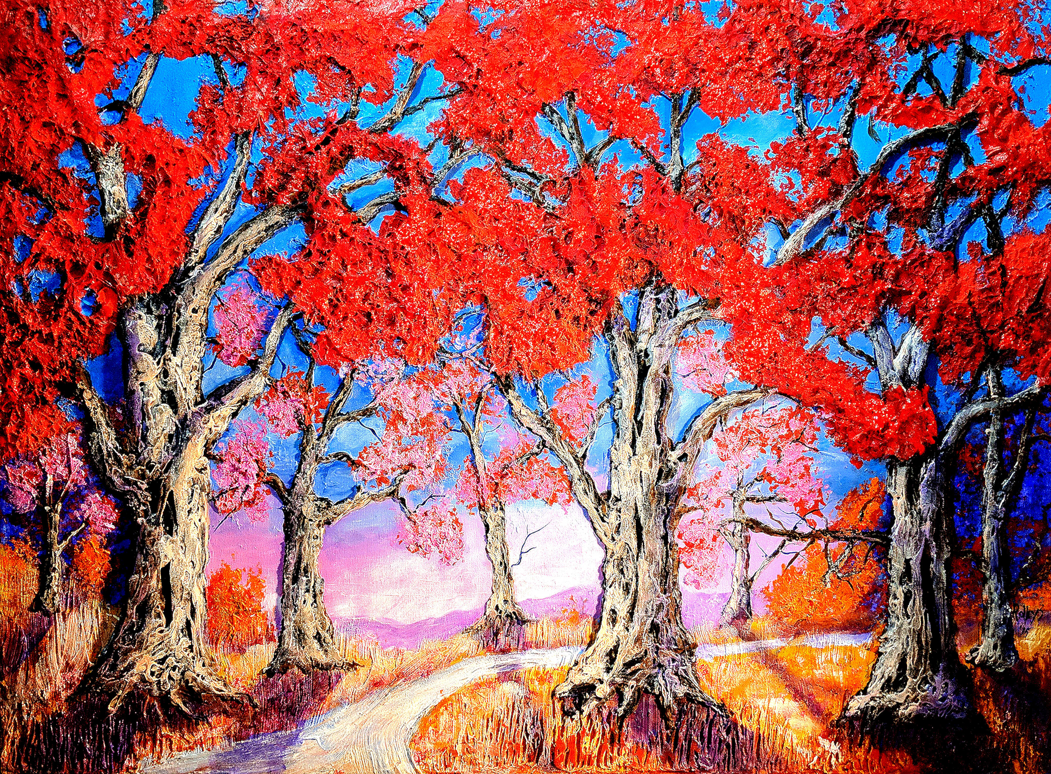 FALL PASTELS     30x40  $700   HIGHLIGHTED WITH GLOW IN DARK LUMINESCENT PAINT