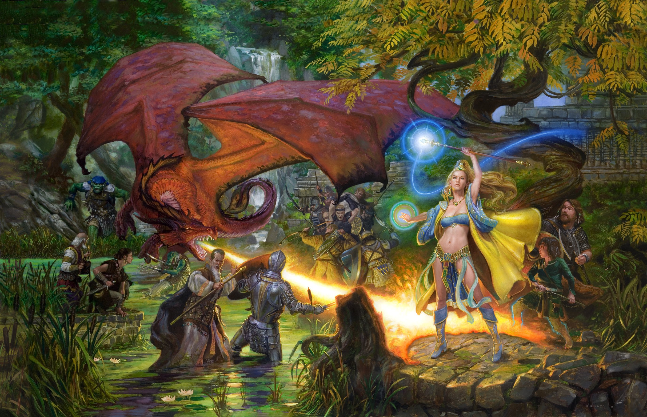 "EverQuest 25"" x 40"" Oil on Paper on Panel 2008 cover art for the anniversary art book collection of Sony Online Games"