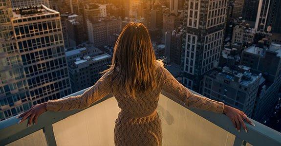 Woman Enjoy The Sunset