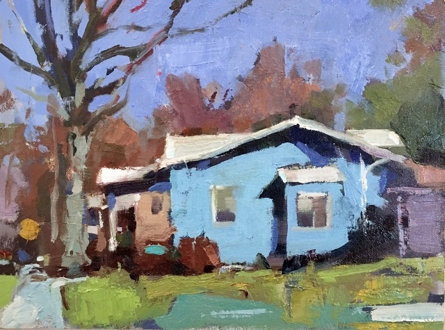 "Bernard Dellario, Tacoma Blues, 9"" x 12"" Oil SOLD"