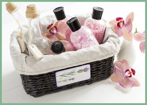 Set Of Cosmetics For Body Care In A Wicker Basket