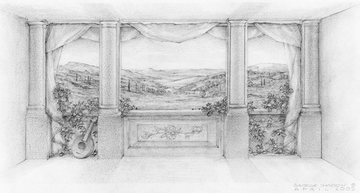 "Sketch for Tuscany Verandah Mural Triptych, 17""x 21"", Graphite on Bristol Board."