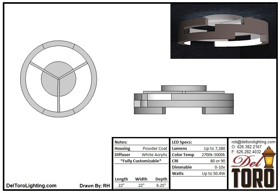 020C-Staggered Ring Ceiling Mount
