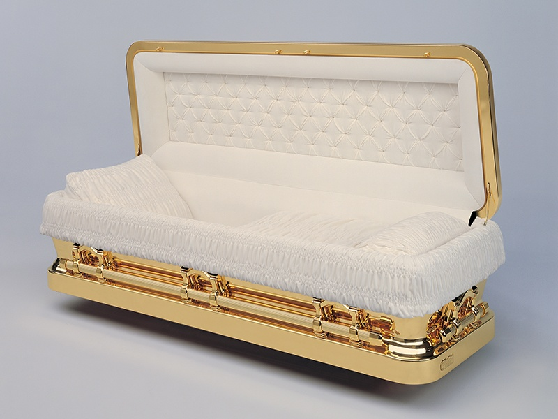 PROMETHEAN (182054) Características: Bronce de 48  Oz, Color Dorado, Proteccion Anti-Oxidación, Herrajes con chapa de Oro de 14k, Tapicería en Terciopelo, Programa Living Memorial®