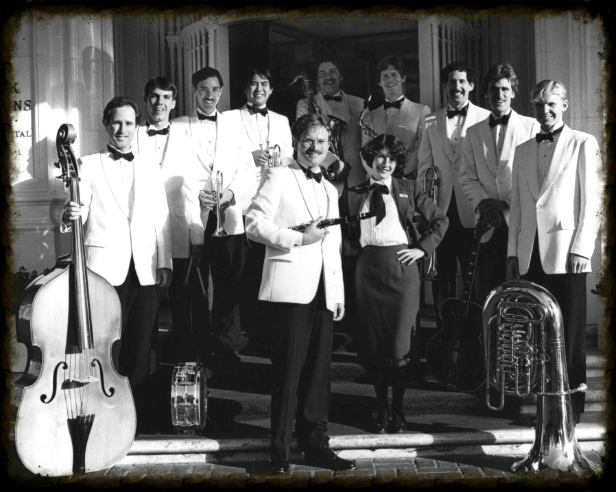 Royal Society Jazz Orchestra in front of Mark Hopkins Hotel, on Nob Hill, in San Francisco.