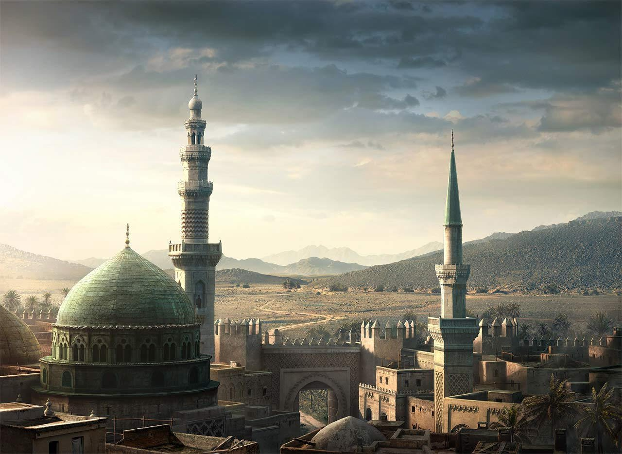 Old painting of the dome of the Prophet peace be upon him and his family in Medina (circa 1800's). Believers visit the shrine as a value of good mannerism and respect.