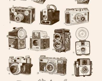 """Vintage Cameras Silkscreen 18"""" X 24"""" $60."""