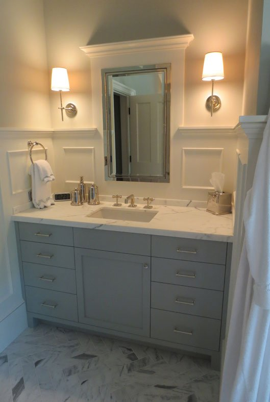 Gray And White Bathroom Sink