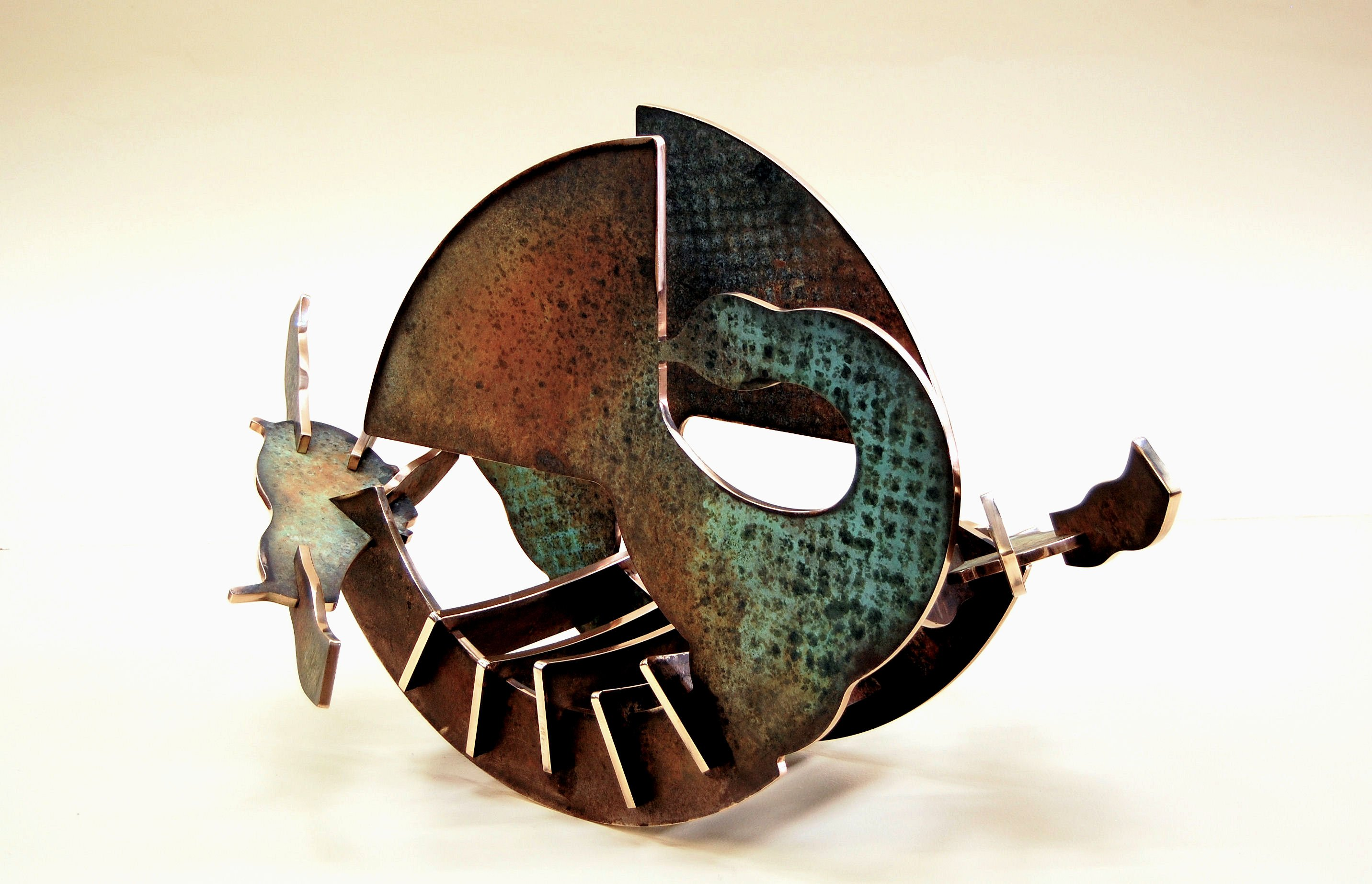"""In Retrospect - 2011, Fabricated Bronze with Hot Patina, 23"""" x 43"""" x 26"""""""