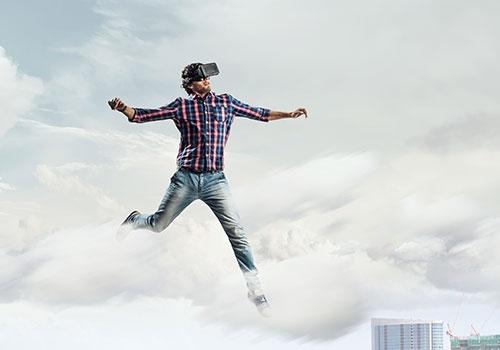 Man in Virtual Helmet