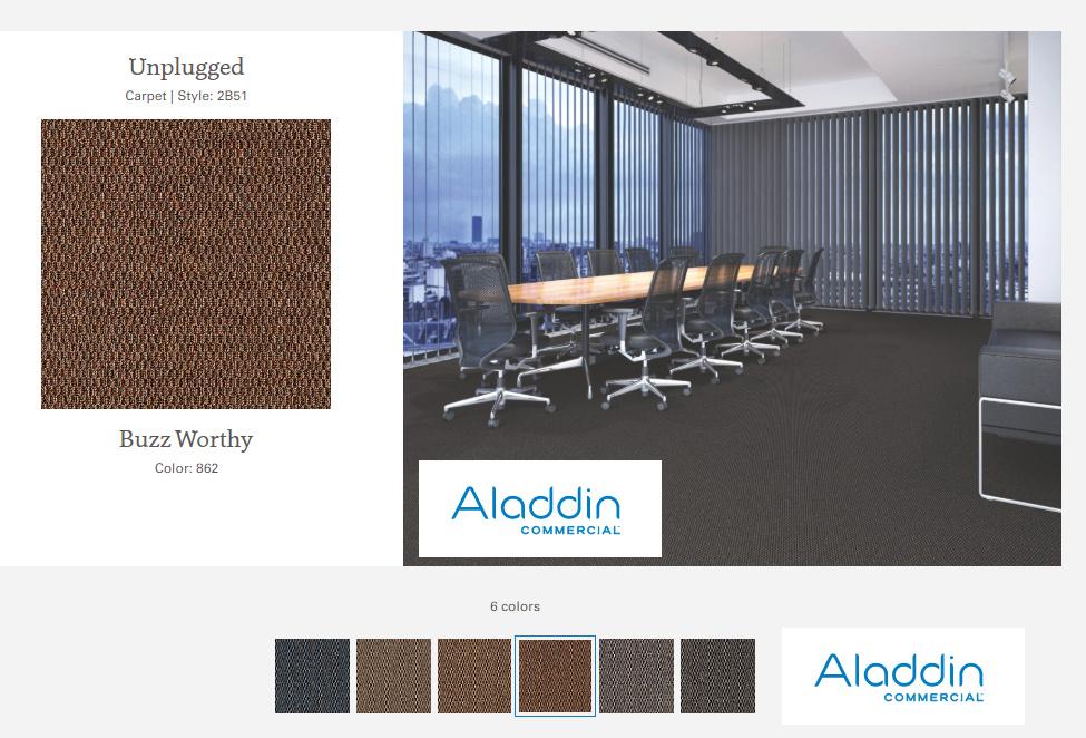 UNPLUGGED alfombra argollada  con diseño, 100% Polipropileno .  Tráfico comercial ligero  -  (542g/m2)