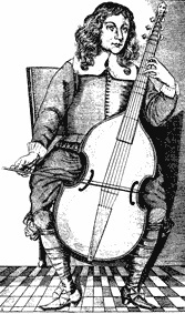 Etching of musician playing a few notes