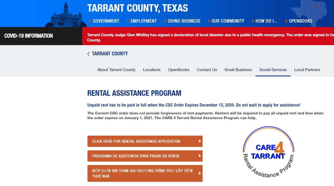 Rental Assistance from Tarrant County