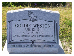 Picture of granite headstone||||