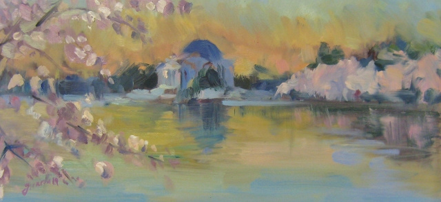 Girardi Sunrise at Peak Bloom, 6x12 Oil