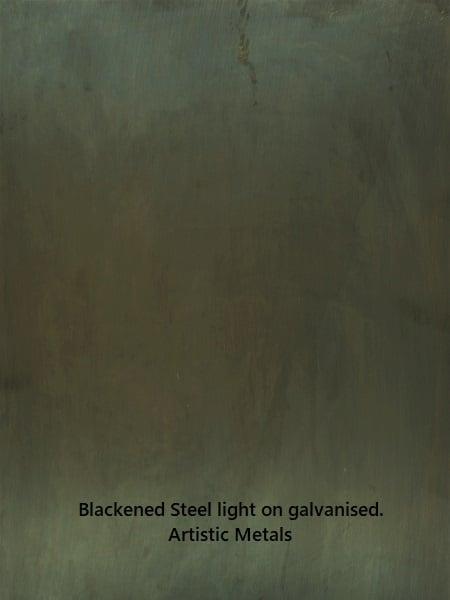 Blackened steel finish on galvanised steel. Artistic Metals.