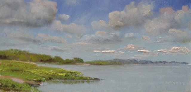 3. SOLD At Assateague Sinepuxent Bay, 4x8 oil on panel