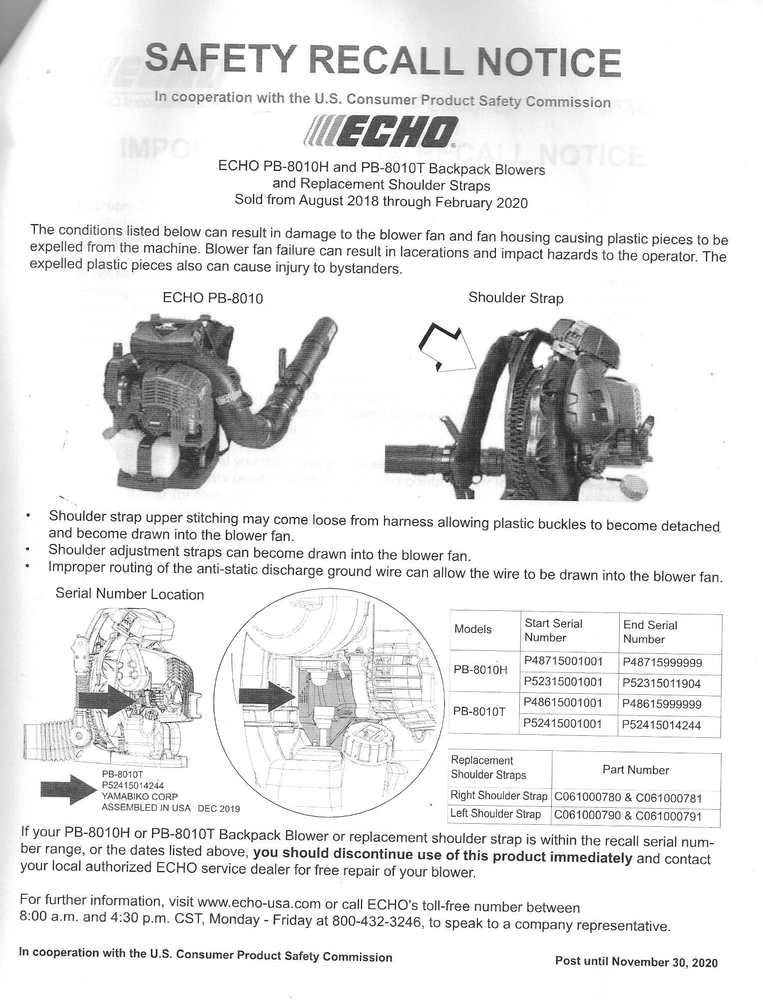 Echo PB-8010T recall, display till November 30, 2020.
