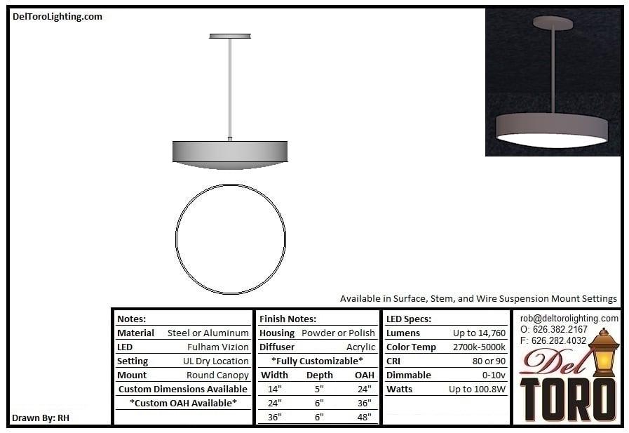007P-Banded Disc Eye Lens Pendant