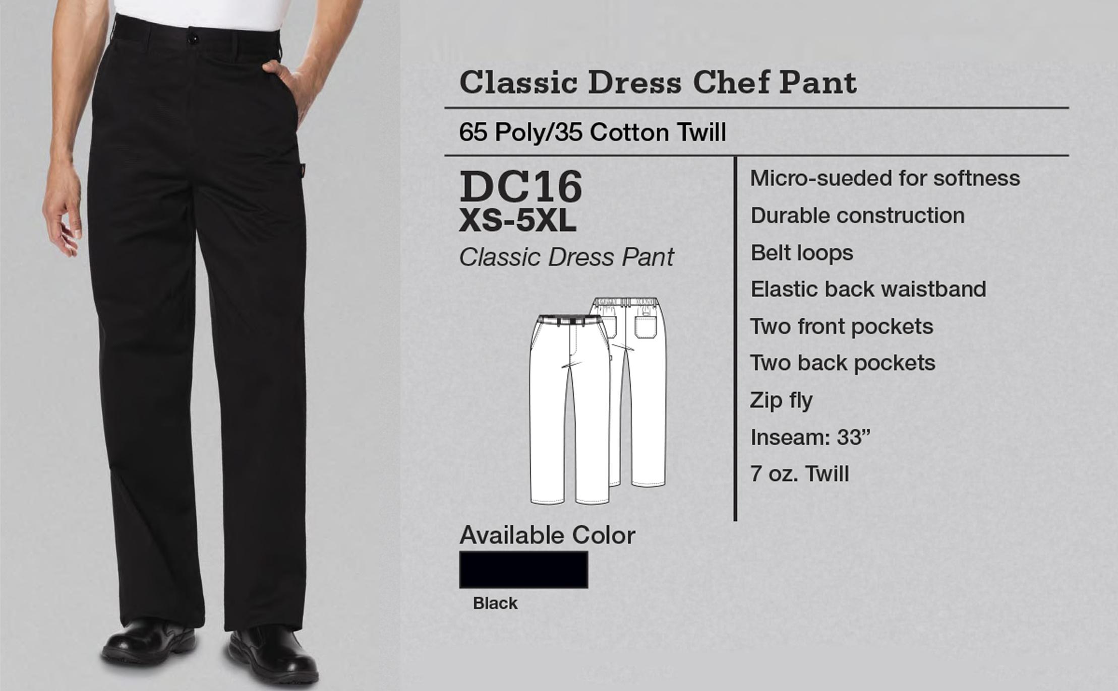 Pantalón de Chef Indumentaria Clásica. DC16.