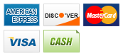 We accept American Express, Discover, MasterCard, Visa and Cash.