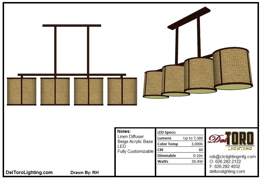 044P-Linen Quad Dining Pendant