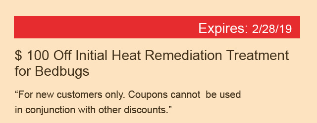 $100 Off Initial Heat Remediation Treatment for Bedbugs