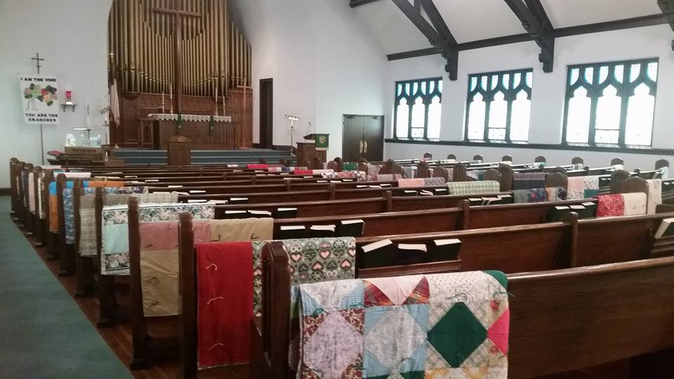 Quilts made by our Sewing Group to send to third world countries and local homeless shelters and nursing homes.